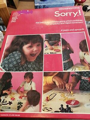 £8.99 • Buy Sorry! Waddingtons Family Kids Board Game 1973 Complete Vintage Rare Boxed VGC