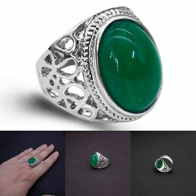£10.80 • Buy Mens Plated Silver  Natural Real Green Jade Stone Ring For Casual Accessories