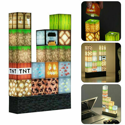 AU23.64 • Buy Minecraft Building Block Light - Desk Lamp Create Your Own Bedroom Game Gift New
