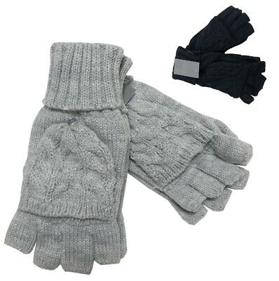 £3.99 • Buy NEW Winter Ladies FINGERLESS COMBO Cable Knit GLOVES MITTENS Flap