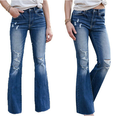 £22.60 • Buy Womens Ladies Ripped Bootcut Jeans Skinny Stretchy Denim Flared Pants Trouser UK