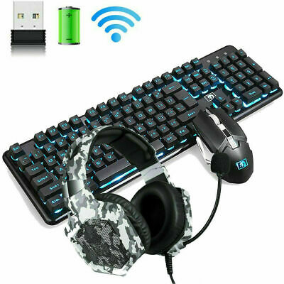 AU58.77 • Buy 2.4G Rechargeable Wireless Gaming Keyboard And Mouse Combo 4800MAH LED Backlit