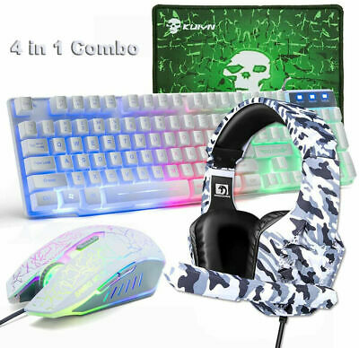 AU50.15 • Buy Wired Gaming Keyboard Mouse And Headset Combo Rainbow Backlit For PC Laptop PS4