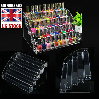 £9.35 • Buy 5 TIERS Durable Polish Acrylic Clear Makeup Display Stand Rack Organizer Holder