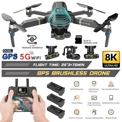 AU266.99 • Buy 8K GPS 5G Wifi 3 Axis Gimbal Dual Camera Drone Brushless Aerial RC Quadcopter AU