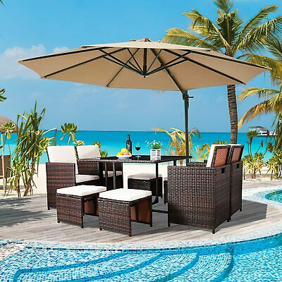 £589.99 • Buy Rattan Garden Furniture 8 Seater Dining Set Outdoor Patio Conservatory Wicker