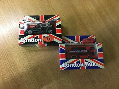 £6.50 • Buy Double Decker London Transport Bus & London Taxi-cast Vehicle Toy In Box*******