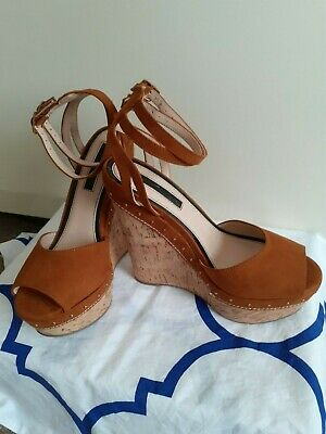 £12.50 • Buy Miss Selfridge Tan High Wedge Sandals, Size 4!! 2 Ankle Straps..never Worn