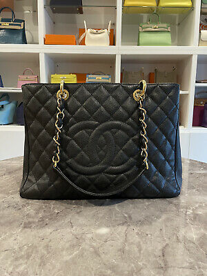 AU3100 • Buy Authentic Black/Gold CHANEL Grand Shopping Tote Caviar Leather  GST