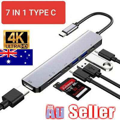 AU24.96 • Buy 7 In 1 USB-C Type C HD Output 4K HDMI USB Adapter HUB For MacBook Pro Windows GD