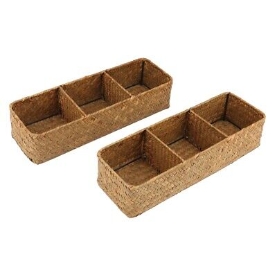 £17.53 • Buy 3-Section Wicker Baskets For Shelves, Hand-Woven Water Hyacinth Storage Bas S1P6
