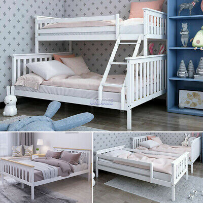 £164 • Buy Wooden Bed Frame 3FT Single & 4FT6 Double Triple Sleeper Bunk White Solid Pine