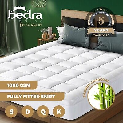 AU57.90 • Buy Bedra Bedding Luxury Pillowtop Mattress Topper Mat Pad Protector Cover All Size