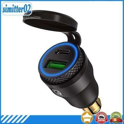 £9.70 • Buy ☆ DIN Plug To QC3.0 + PD USB Charger W/ LED Light For Motorcycle (Black+Blue)