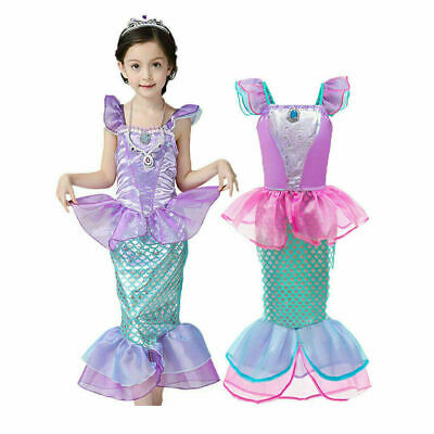 AU17.99 • Buy Girls Little Mermaid Ariel Princess Dress Cosplay Costumes Kids Party Outfit