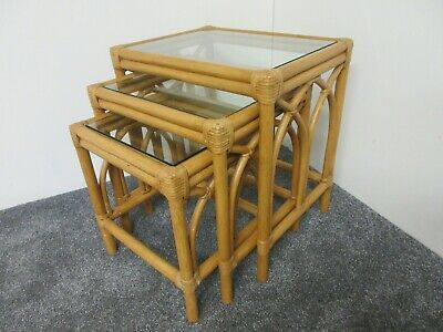 £50 • Buy Bamboo Cane Nest Of Tables Side Table Glass Top Retro Wicker Good Condition