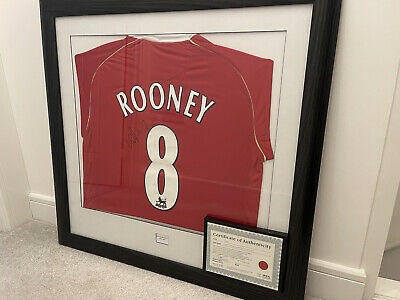 £160 • Buy Wayne Rooney Signed Manchester United Shirt In A Frame With Framed C.O.A