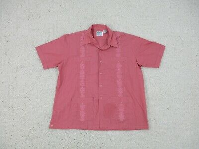 £17.97 • Buy VINTAGE Haband Guayabera Button Up Shirt Extra Large Adult Pink Embroidered Mens
