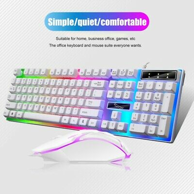 AU18.99 • Buy NEW Rainbow Gaming Keyboard And Mouse Set 2pcs Changing-Backlight Mouse Mice AU