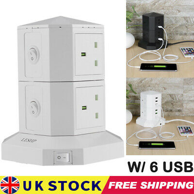 £14.99 • Buy Tower Socket Extension Lead 4 Way Cable Surge Protected Power With 6 USB Port UK