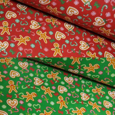 £4.40 • Buy Polycotton Fabric Christmas Gingerbread Hearts Candy Cane Festive Bow Xmas Sweet