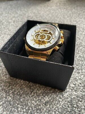 £13.80 • Buy Mens Automatic Mechanical Watches Skeleton Stainless Steel Wristwatch - GOLD