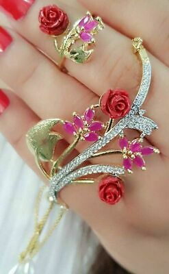 £21.02 • Buy American Diamond Bracelet With Ring Indian Bollywood Style Lady Fashion Jewelry