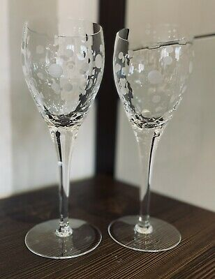 £16.99 • Buy X2 Royal Doulton Lead Crystal Spotted Pattern Wine Glasses 🍷Pristine Condition
