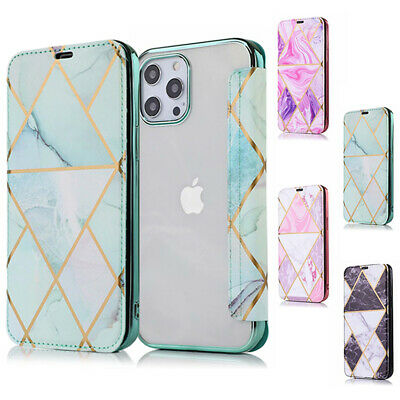 AU12.99 • Buy For IPhone 12 11 Pro Max XR XS 7 8 SE Plus Marble Case Leather Wallet Flip Cover