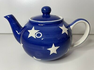 £14.99 • Buy Whittard Small Blue Star Teapot Tea Clipper Hand Painted