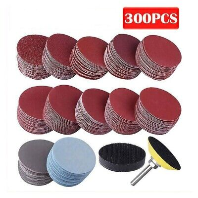 £10.39 • Buy 300Pcs 50mm Sanding Discs Pad Kit For Drill Grinder Rotary Tools+Backing Pad UK