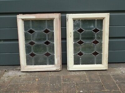 £50 • Buy Pair Of Reclaimed Leaded Stained Glass Wooden Windows
