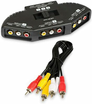 £6.99 • Buy 3-Way Audio Video AV RCA Black Switch Selector Box Splitter With/3RCA Cable