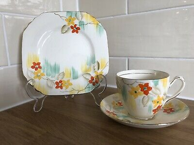 £8.50 • Buy Vintage Art Deco Phoenix Ware Bone China Floral Cup Saucer And Plate Trio