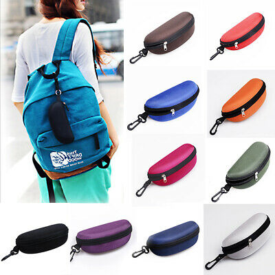 AU3.55 • Buy Portable Zipper Eye Glasses Clam Shell Sunglasses Hard Case Protector With Hook