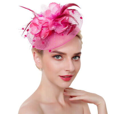 AU16.23 • Buy Charming Cocktail With Clip Headband Feathers Mesh Flower Fascinator Hat