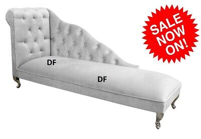 £169.98 • Buy Silver Crushed Velvet Buttoned Chesterfield Tufted Chaise Lounge Sofa Chair