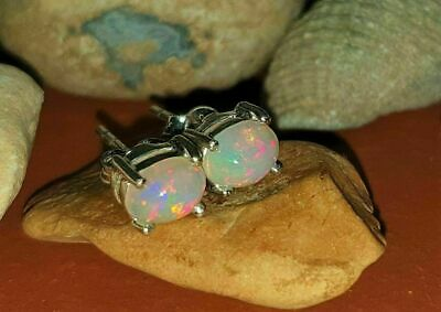 £9.99 • Buy ❤️Earrings 9ct White Gold Finish Oval ❤️Studs Fire Opal 8 Mm Silver Birthday ❤️