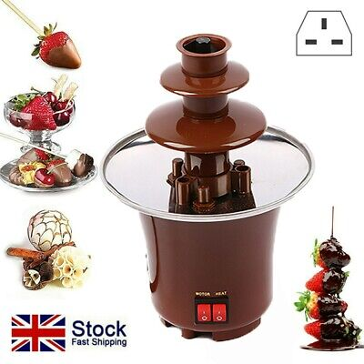 £14.99 • Buy 3 Tier S/S Steel Electric Chocolate Warmer Dip Fountain Party Fondue Melting Pot