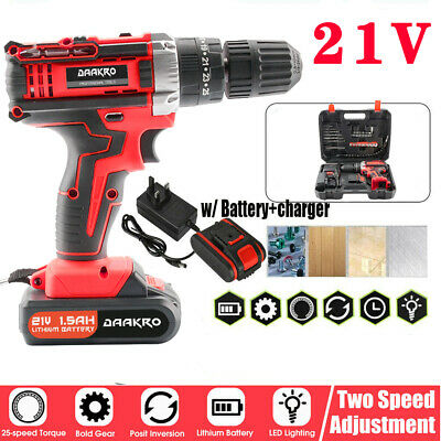 £31.99 • Buy 2 Batteries 21V Cordless Combi Impact Power Drill Electric Screwdriver +Charger