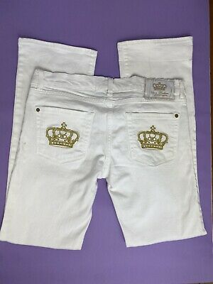 £25 • Buy Y2K 00s White Gold Victoria Beckham Rock & Republic Low Rise Hipster Jeans