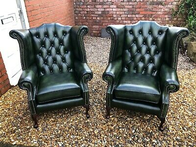 £1000 • Buy 2 Matching Antique Green Leather Chesterfield Queen Anne Wing Back Chairs