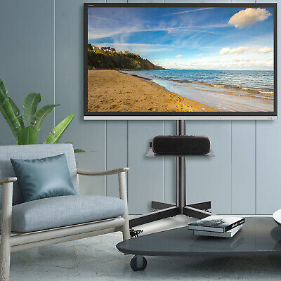 £65.99 • Buy Mobile TV Stand On Wheels For 27-60 Inch Flat Curved Up To 40kg Height Adjustabl