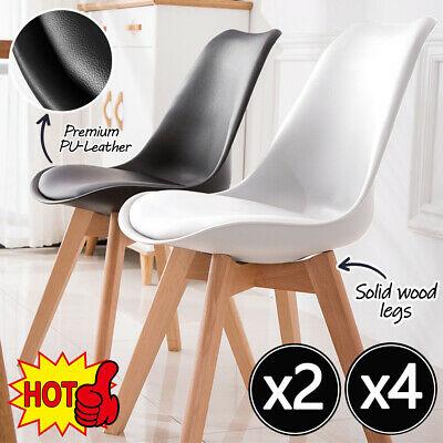 AU80.75 • Buy 2/4 Dining Chairs Kitchen Cafe Seat Home Office Living Room PU Wood Leg AU STOCK