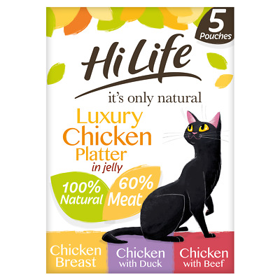 £4.25 • Buy HiLife It's Only Natural Luxury Chicken In Jelly Multipack Cat Food - 5 X 50g