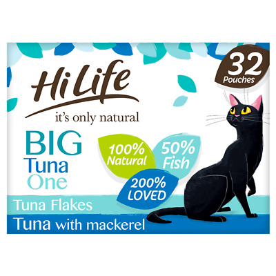 £20.15 • Buy HiLife It's Only Natural Big Tuna One In Jelly Adult Cat Food Pouches 32x70g