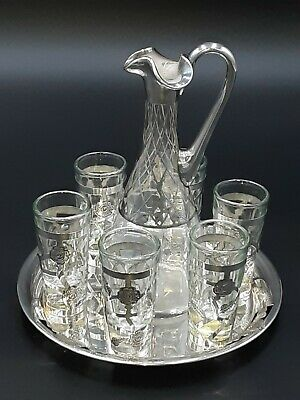 £45.10 • Buy Sterling Silver Tray And 6 Sterling Shot Glasses And Carafe W/sterling Inlay