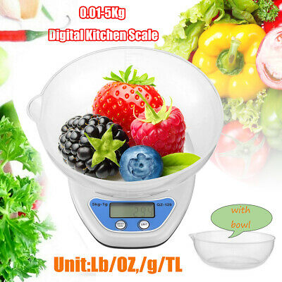 £2.09 • Buy Kitchen Scales 0.01~5kg Digital LCD Electronic Cooking Food Measuring Bowl Scale