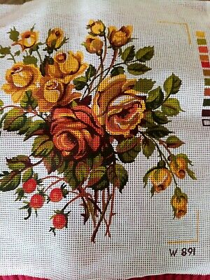 £3.50 • Buy Twilleys Canvas For Needlework Of A Spray Of Roses&hips