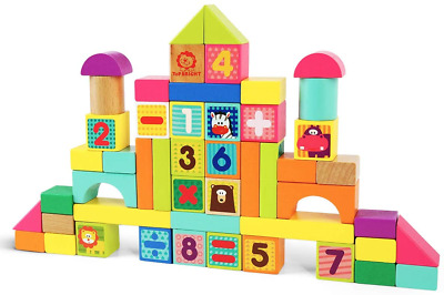 £16.91 • Buy TOP BRIGHT Wooden Blocks Toys For 1 2 3 Year Old Boy Girl, Kids Building Blocks